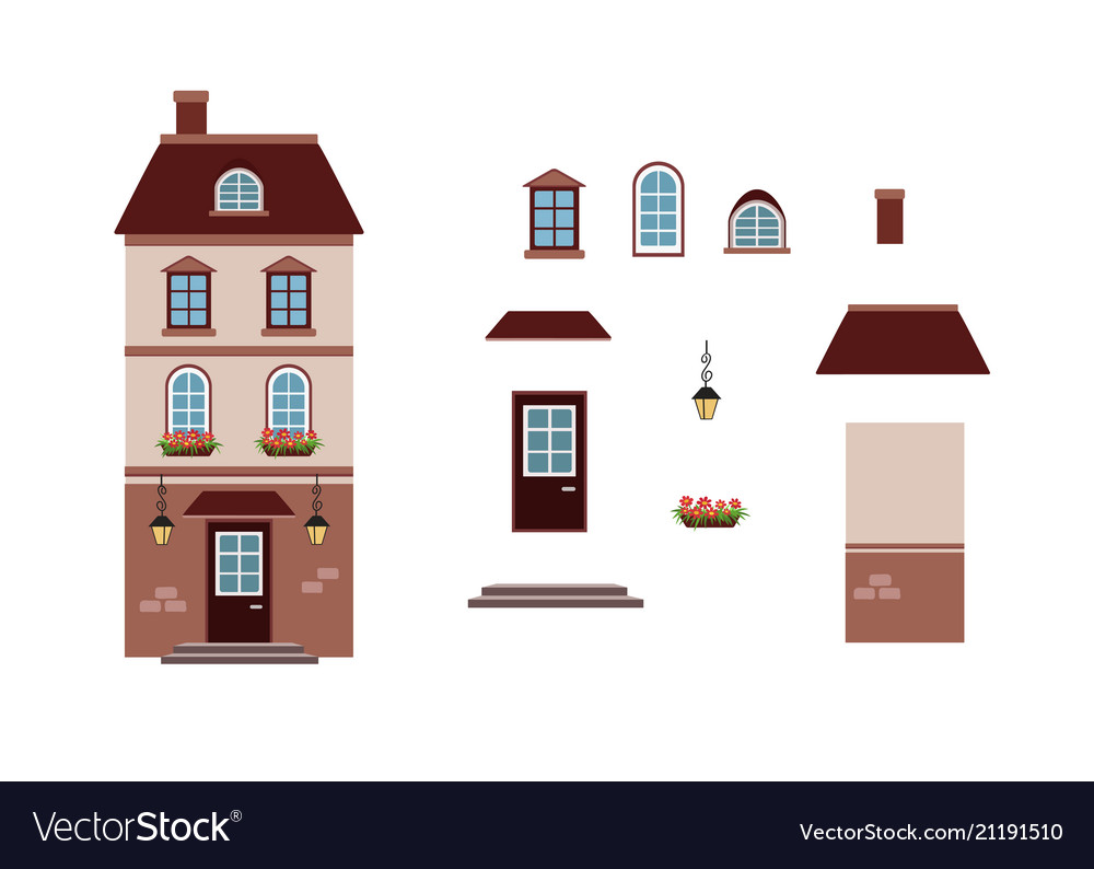 Cartoon house lantern house l with separate