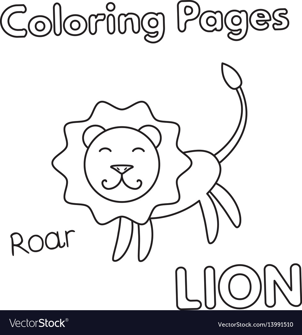 Cartoon lion coloring book Royalty Free Vector Image