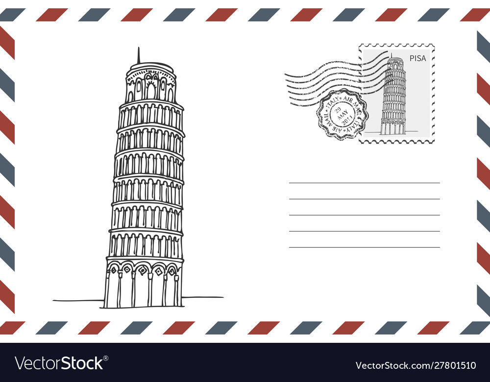 Envelope with hand drawn leaning tower pisa