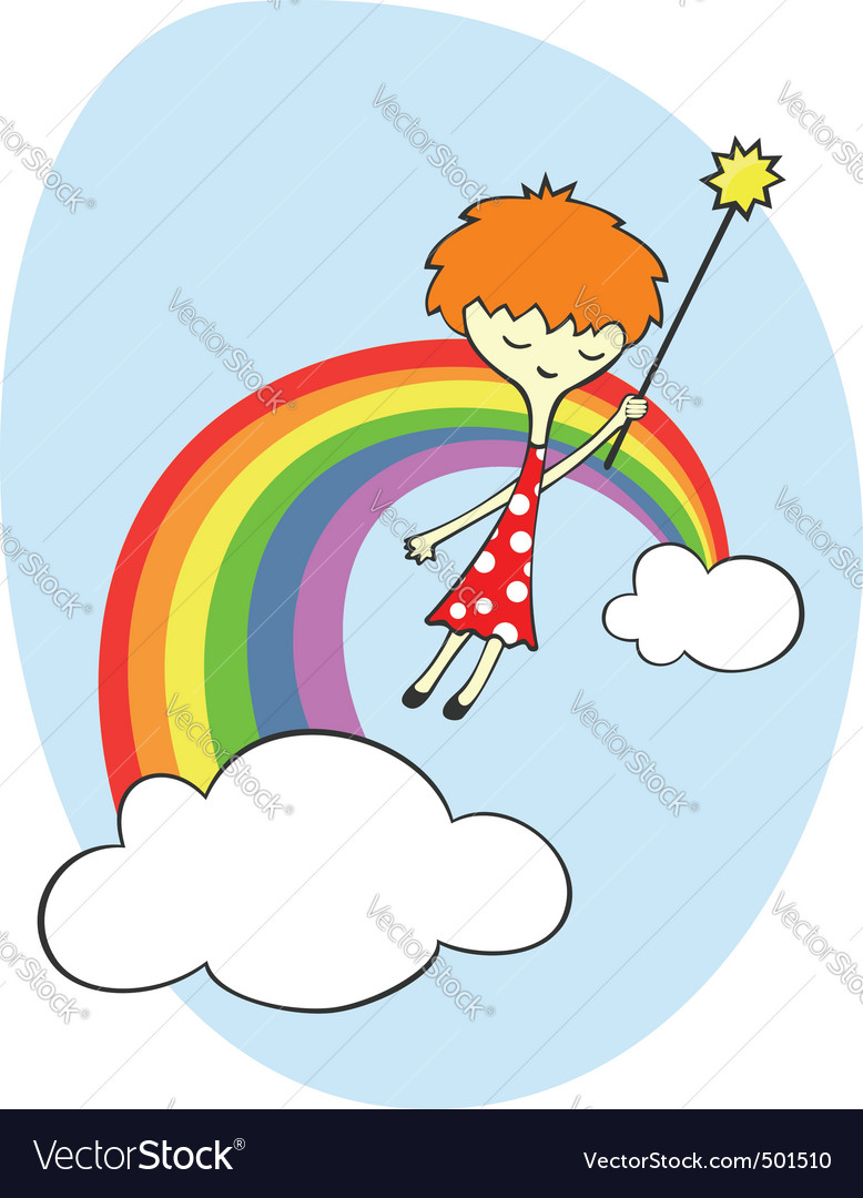 Fairy over the rainbow vector image