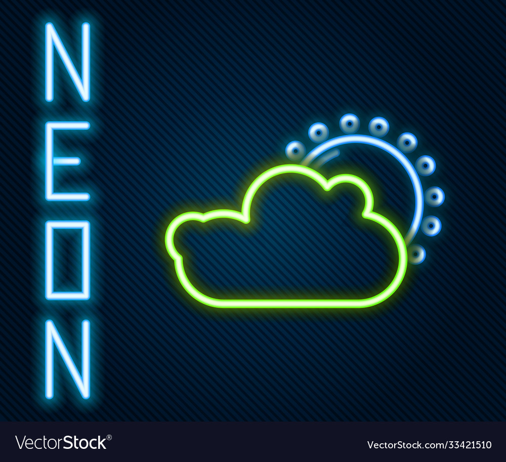 Glowing neon line sun and cloud weather icon
