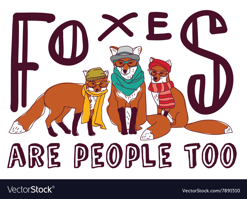 Hipster fox fun sign poster animal card