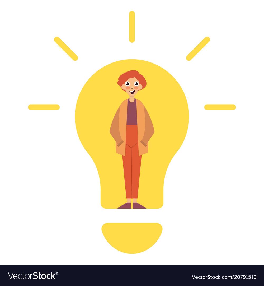 Idea concept lamp head businessman have got an