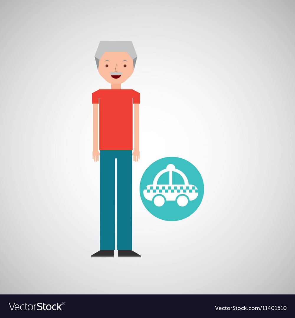 Man elderly travel concept and taxi design graphic vector image
