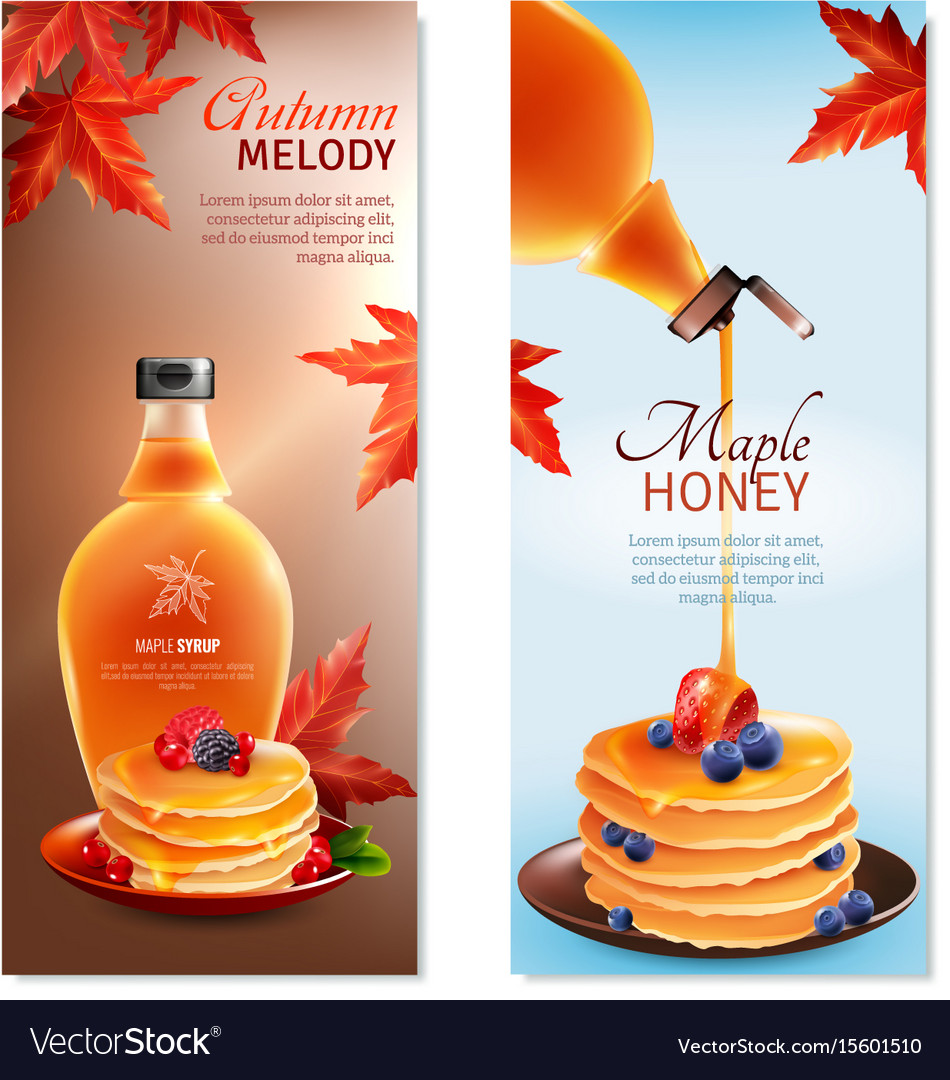 Maple syrup vertical banners set