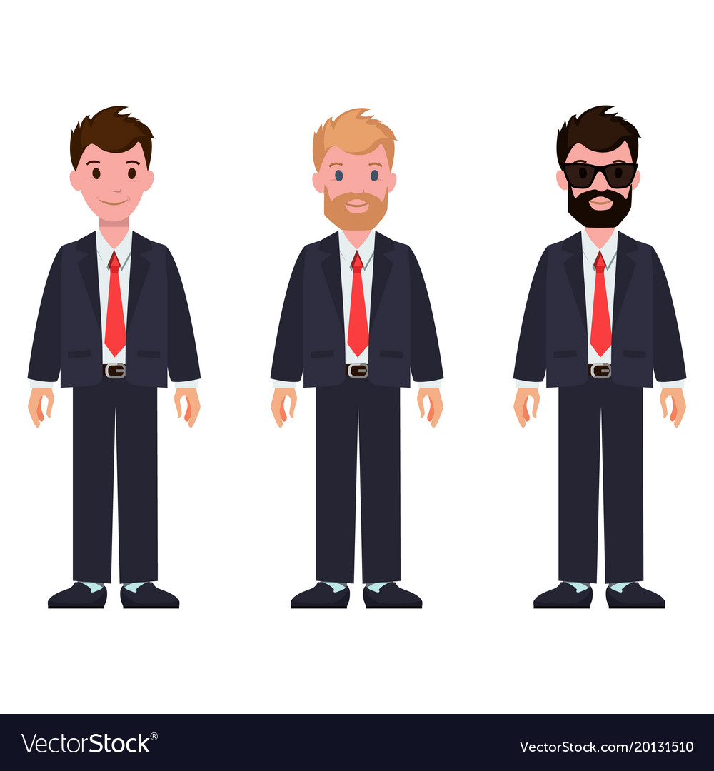 Set of cartoon characters in classic suits and tie
