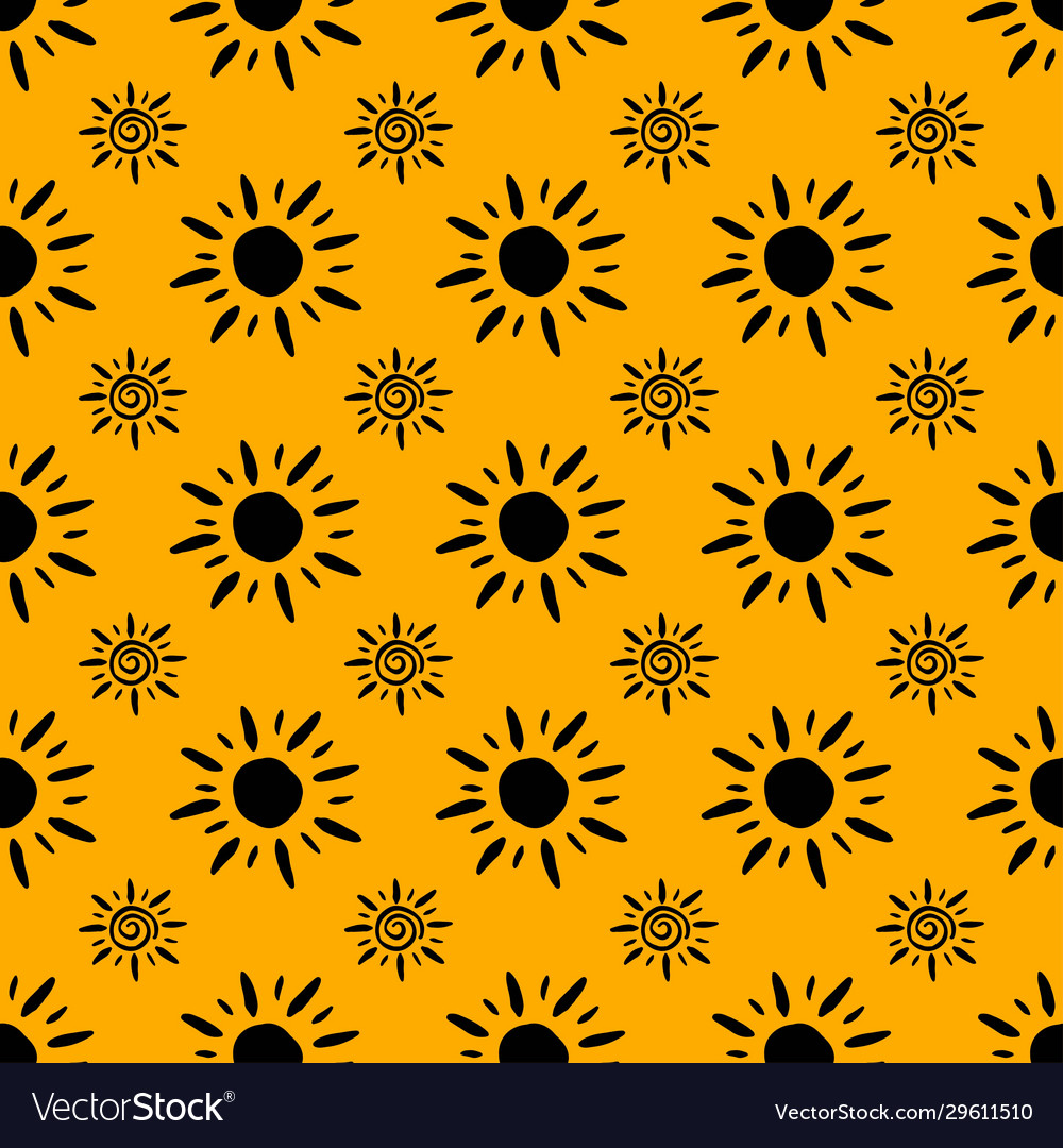 Sun Pattern Abstract Wallpaper Black Yellow Vector Image