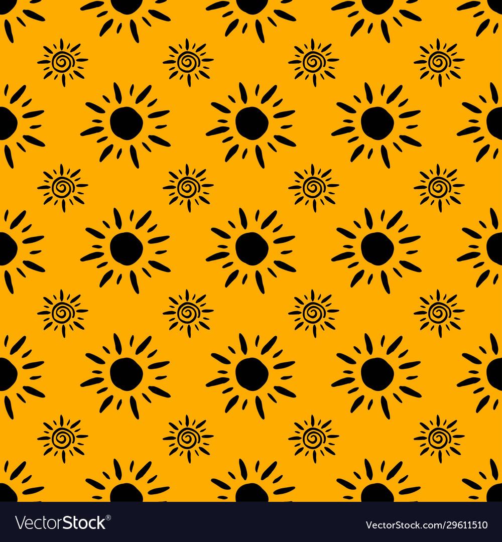 Sun Pattern Abstract Wallpaper Black Yellow Vector Image
