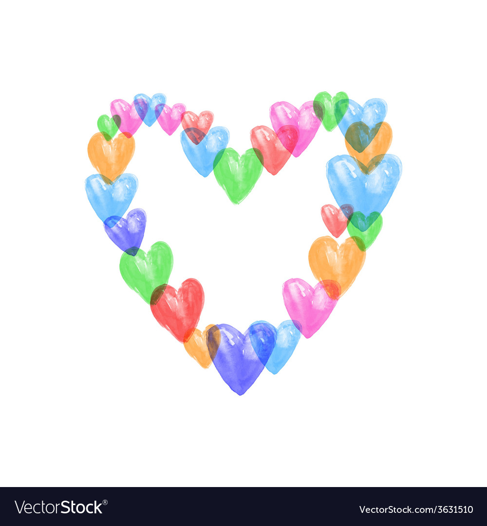 Watercolor colors hearts vector image