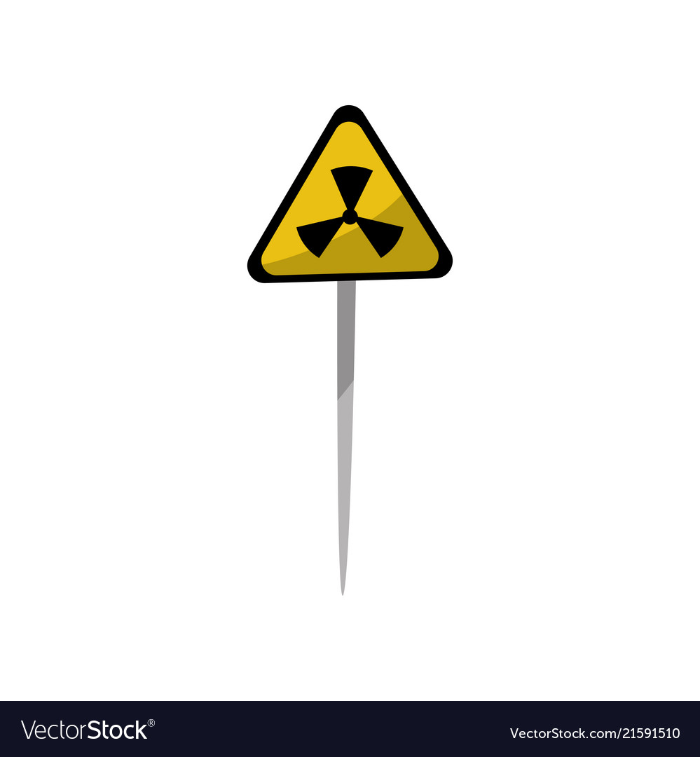 Yellow warning triangle sign of radiation hazard
