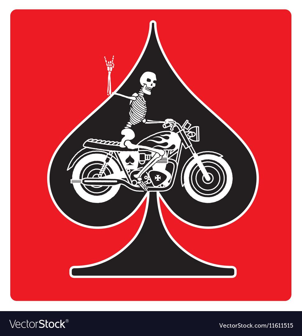 Ace of Spades with Skeleton Biker design