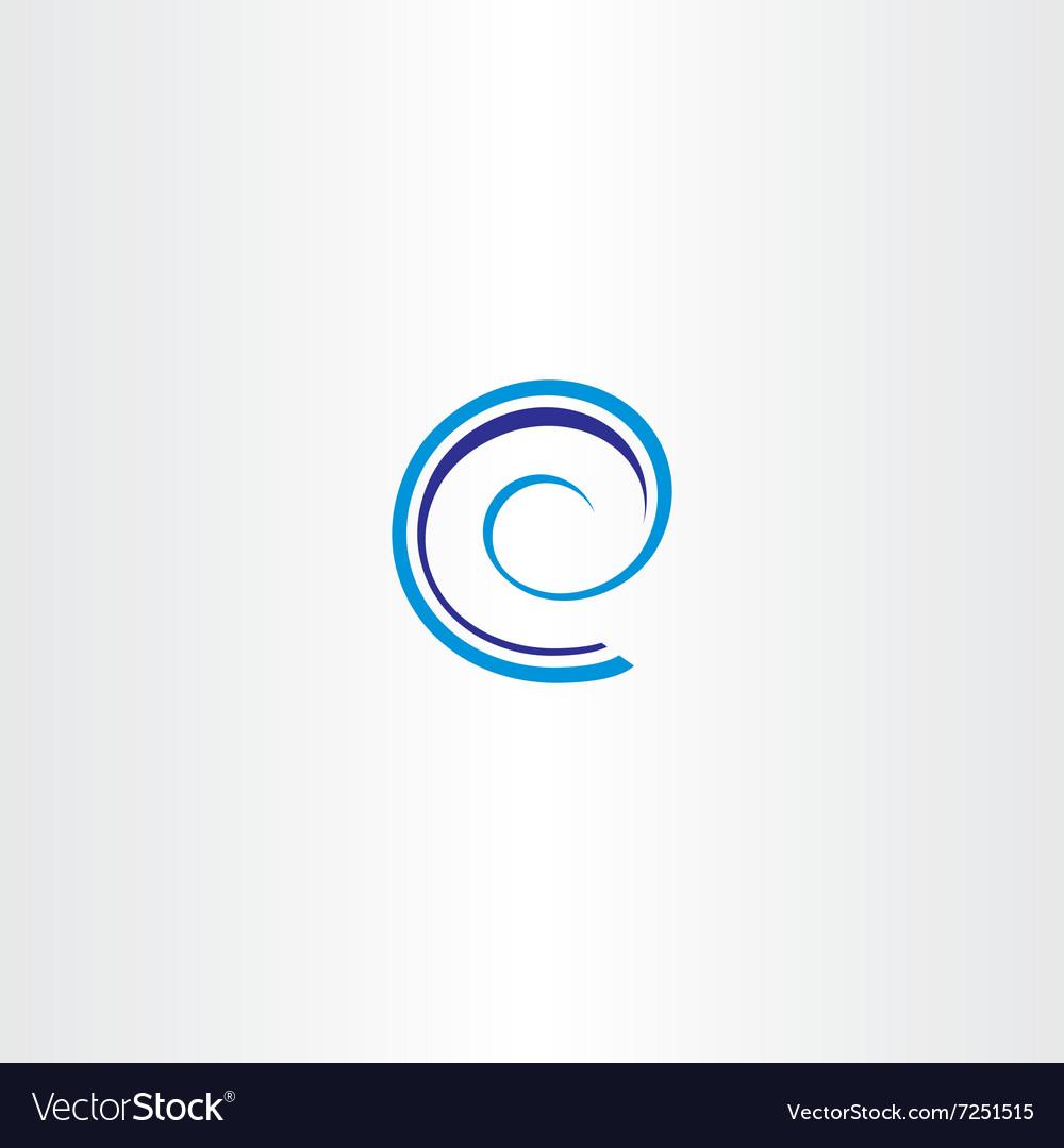Blue spiral letter e icon logo sign