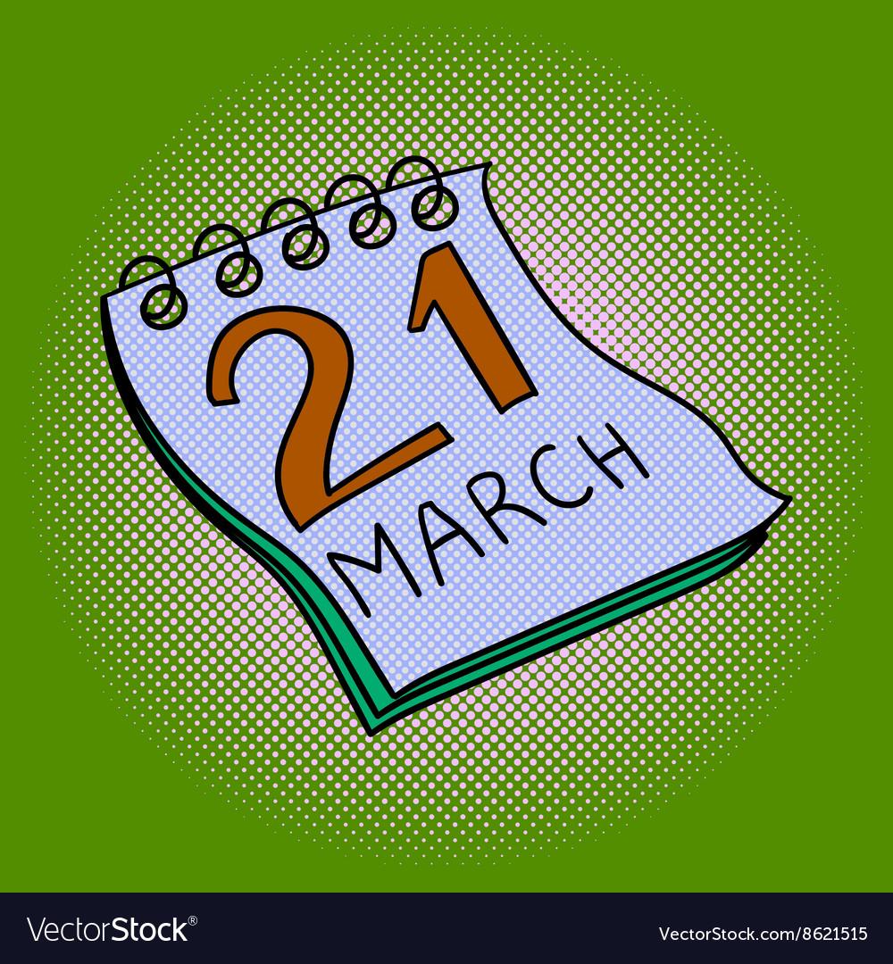 Calendar pop art vector image