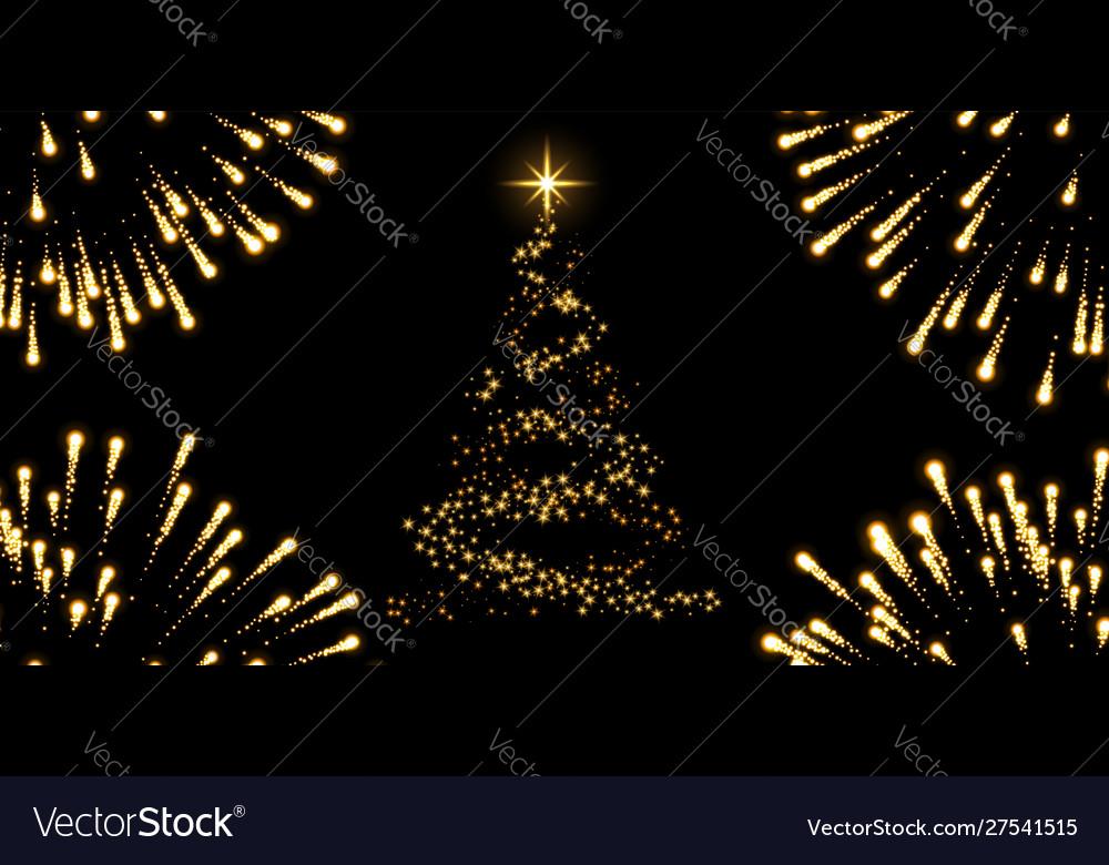Christmas tree firework black background gold