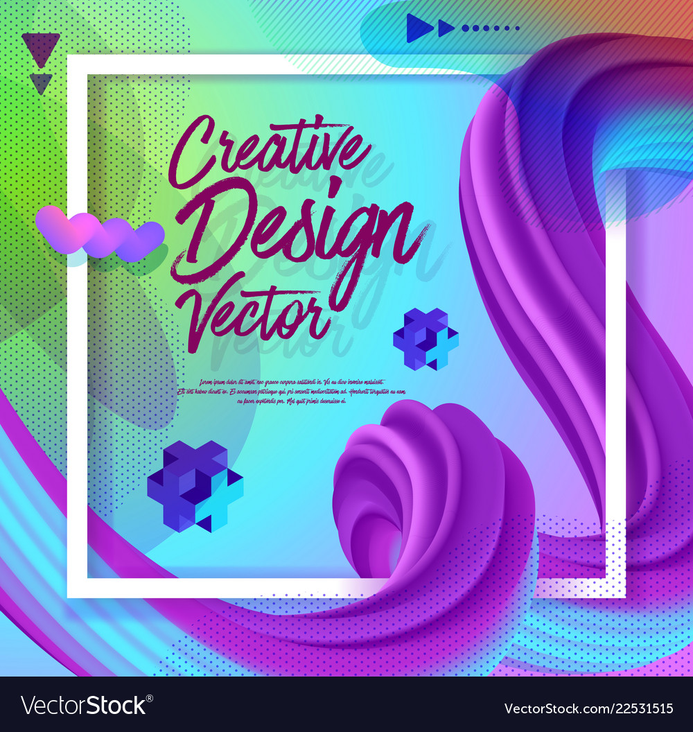 Creative 3d flow poster design abstract background