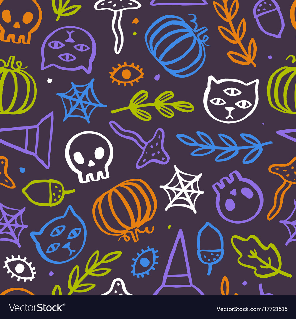 Cute and trendy halloween seamless pattern