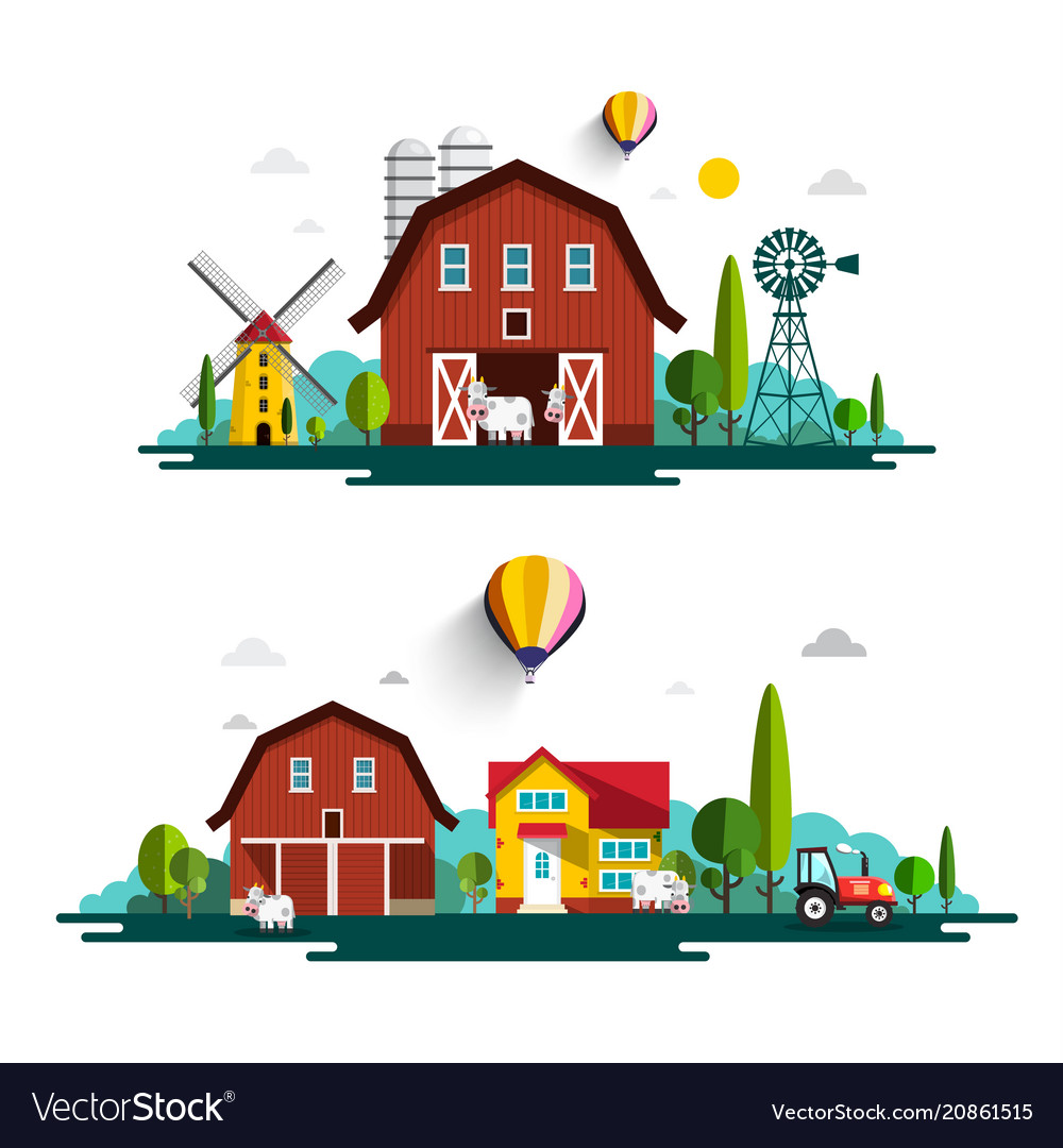 Farm with houses - flat design cartoon with barn
