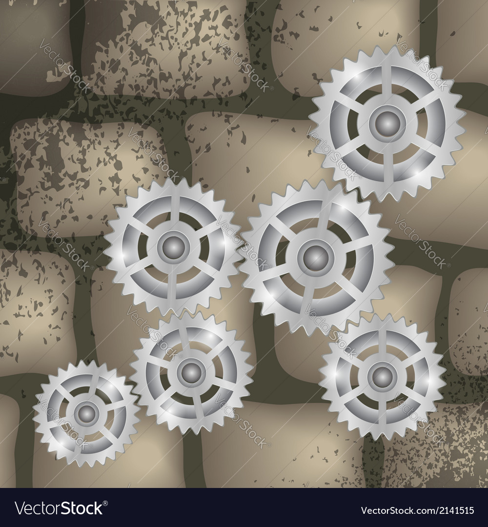 Gears on a brick background vector image