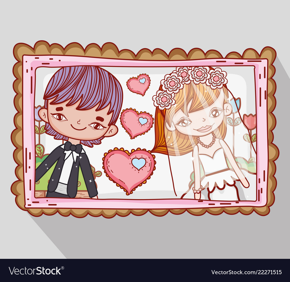 Girl and boy couple marriage pictures with hearts