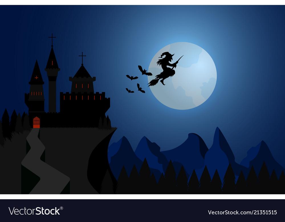 Halloween witch flying under hills dark castle