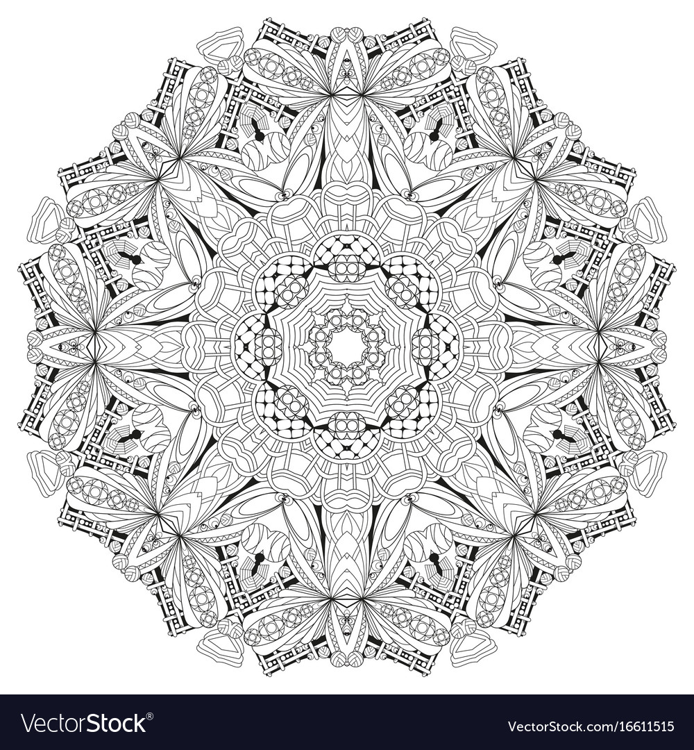 Hand Drawn Zentangle Mandala For Coloring Page Vector Image On Vectorstock