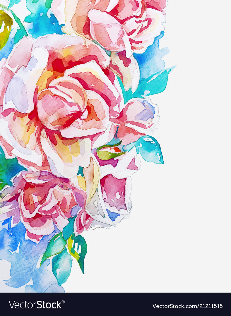 Hand made watercolor pink roses corner to banner