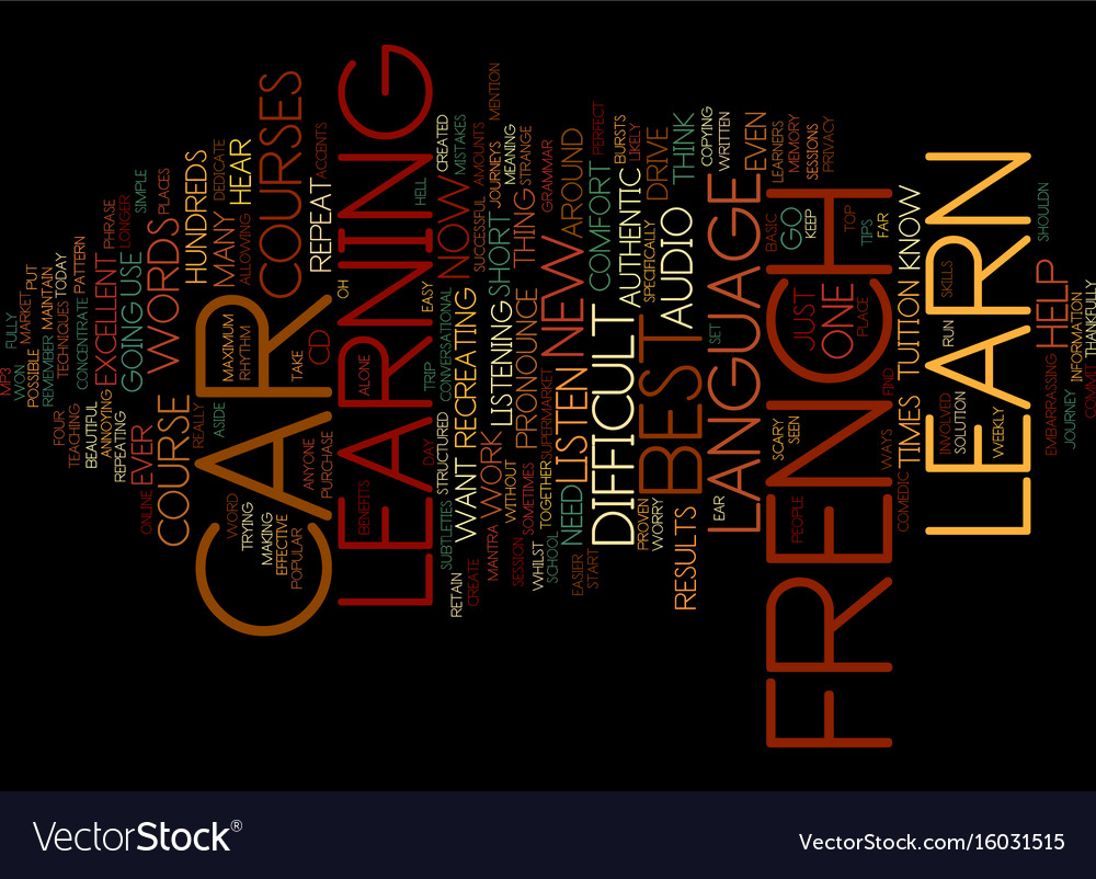 Learn french whilst you drive text background vector image