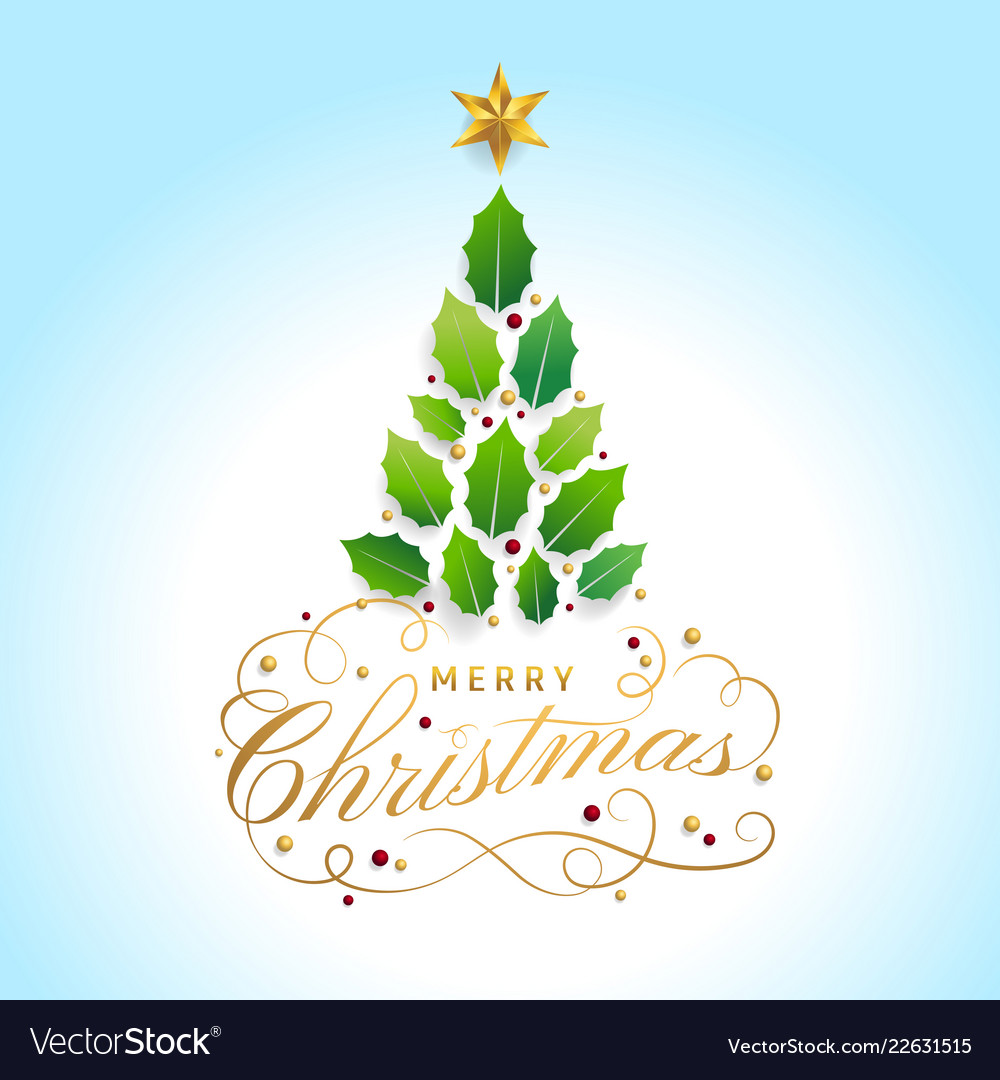 Merry christmas card with graphic christmas tree