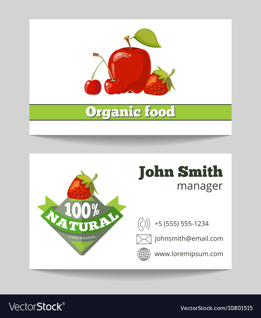 Organic food shop business card template vector image cheaphphosting Choice Image