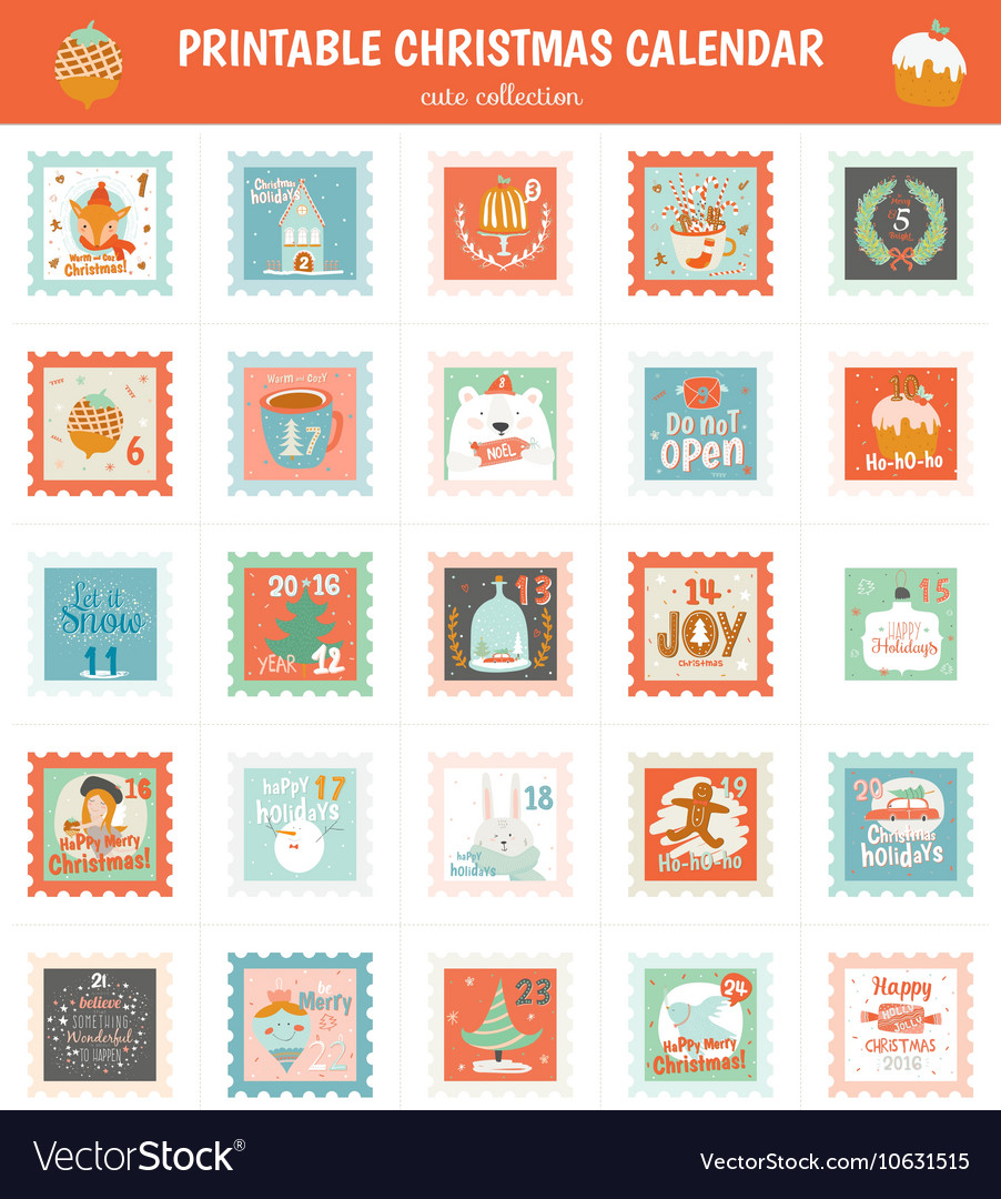 photo about Advent Calendar Printable referred to as Printable introduction calendar within just