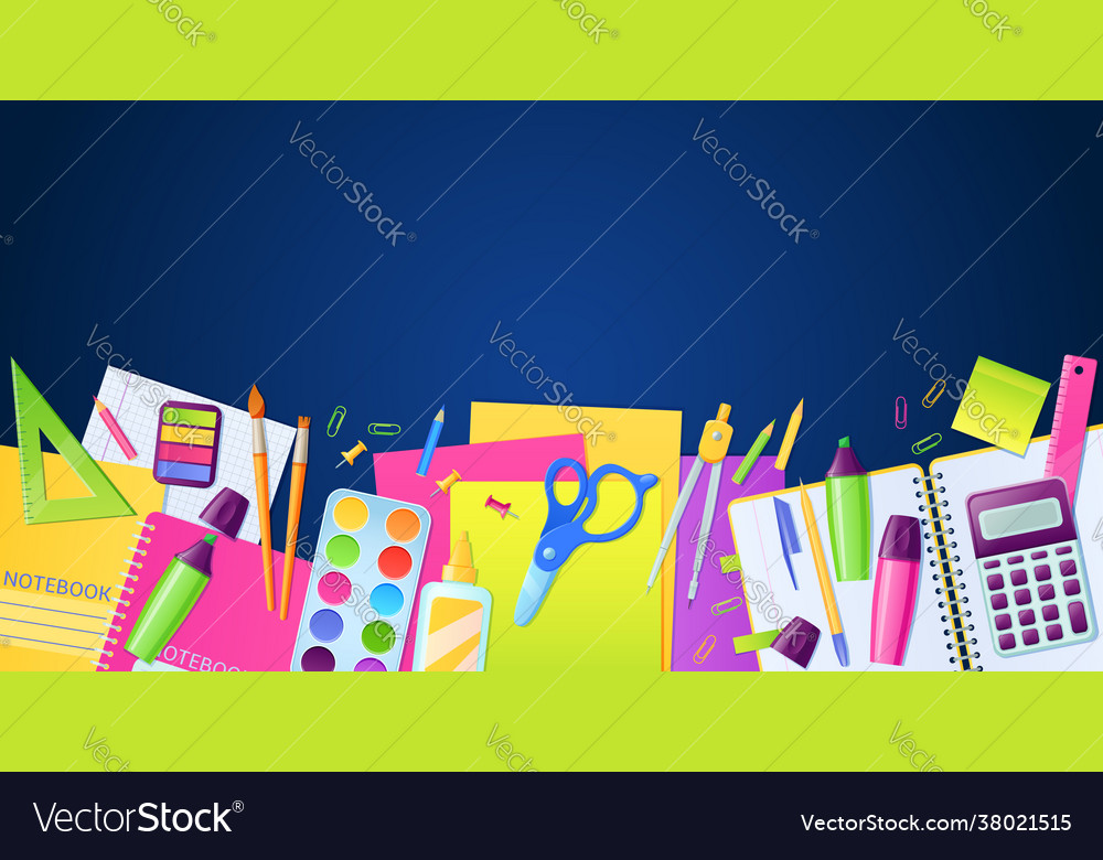 School poster with stationery education supplies