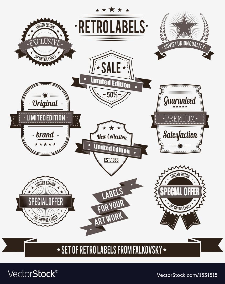 Set of vintage retro labels calligraphic elements vector image