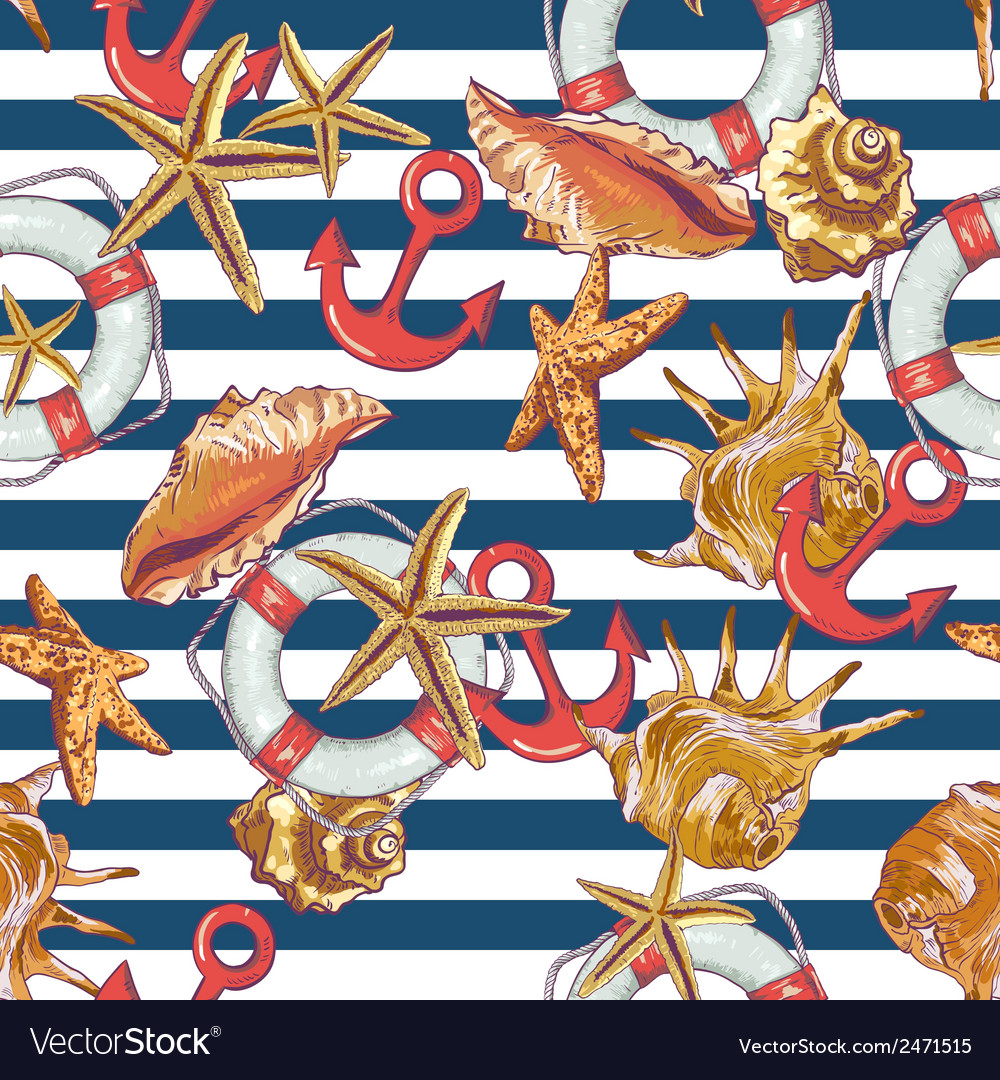 Summer Seamless Pattern with Sea Shells Anchor