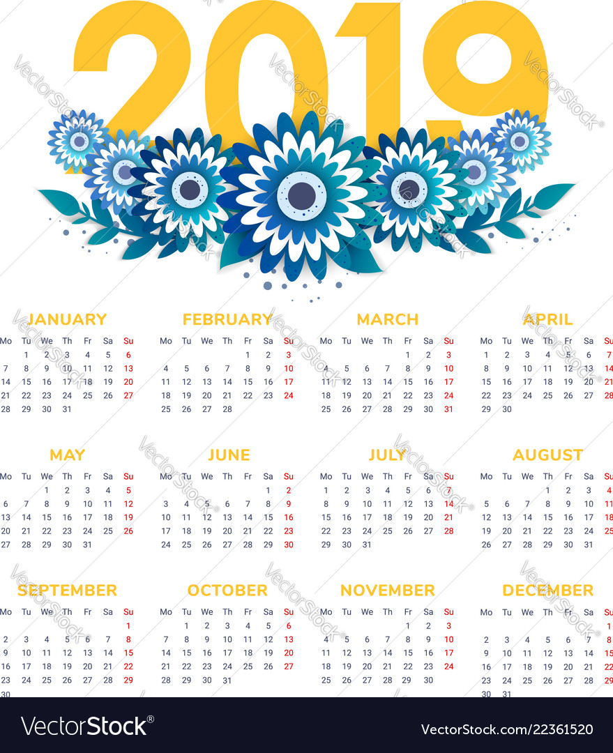 New Year Calendar 2019 2019 new year calendar with flowers Royalty Free Vector