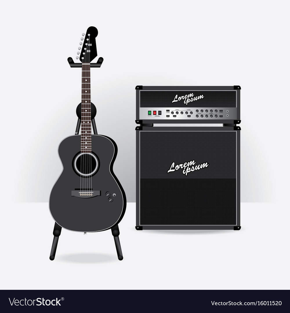 Acoustic electric guitar with guitar amplifier