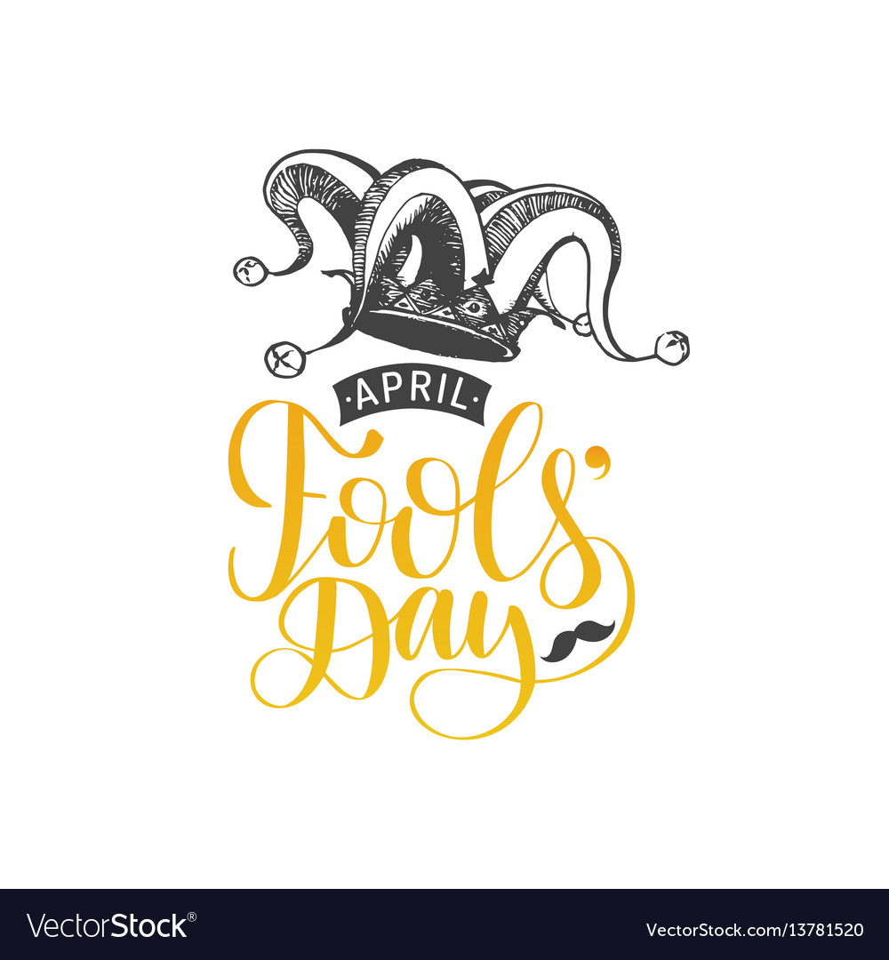 April fools day hand lettering greeting card