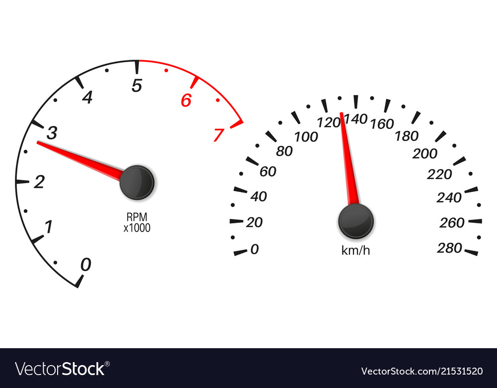 Car dashboard with speedometer and tachometer