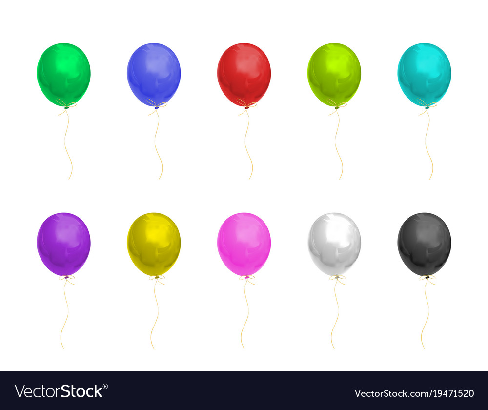 Colorful realistic shiny balloons of helium