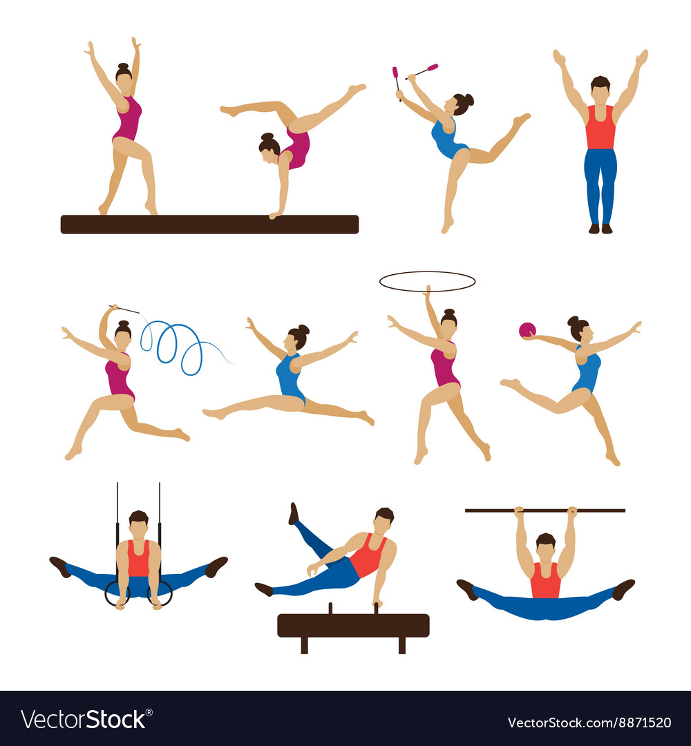 Gymnastics Athletes Men and Women Set vector image
