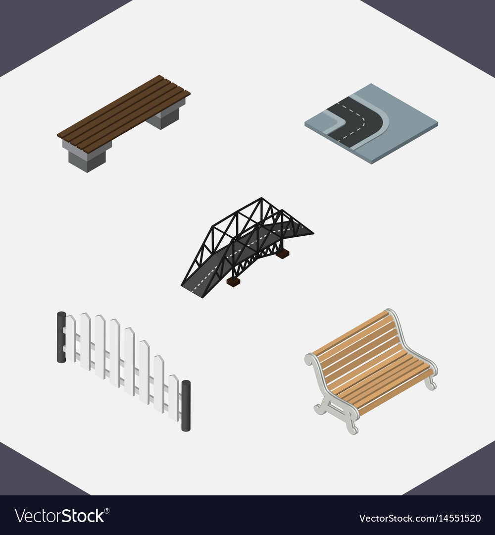 Isometric urban set of barricade seat bench and
