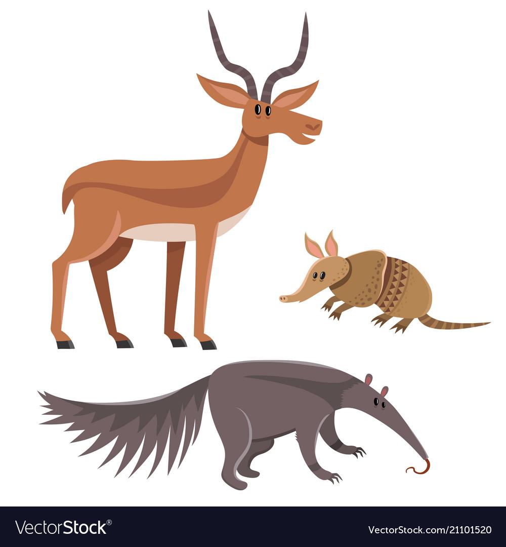 Set of wild animals in cartoon style