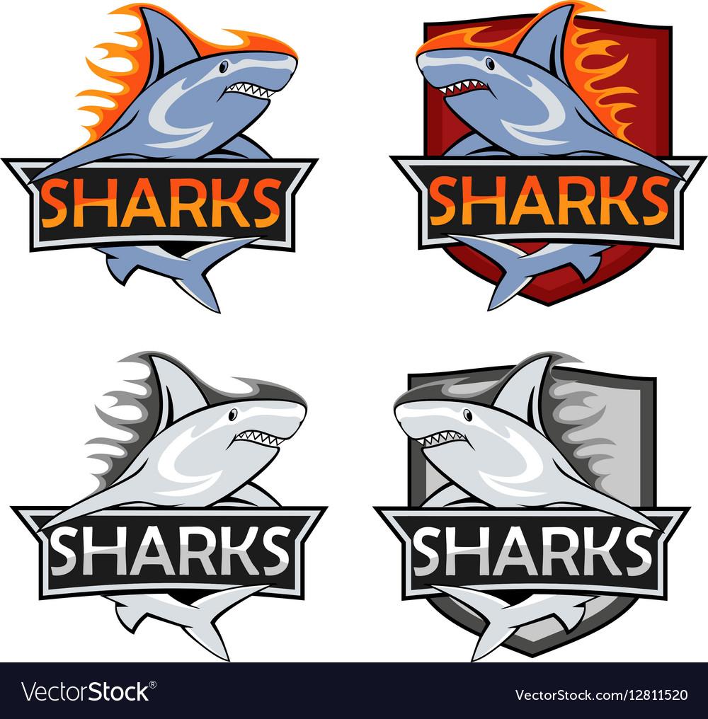 Sharks logo set Animal hunter emblem company