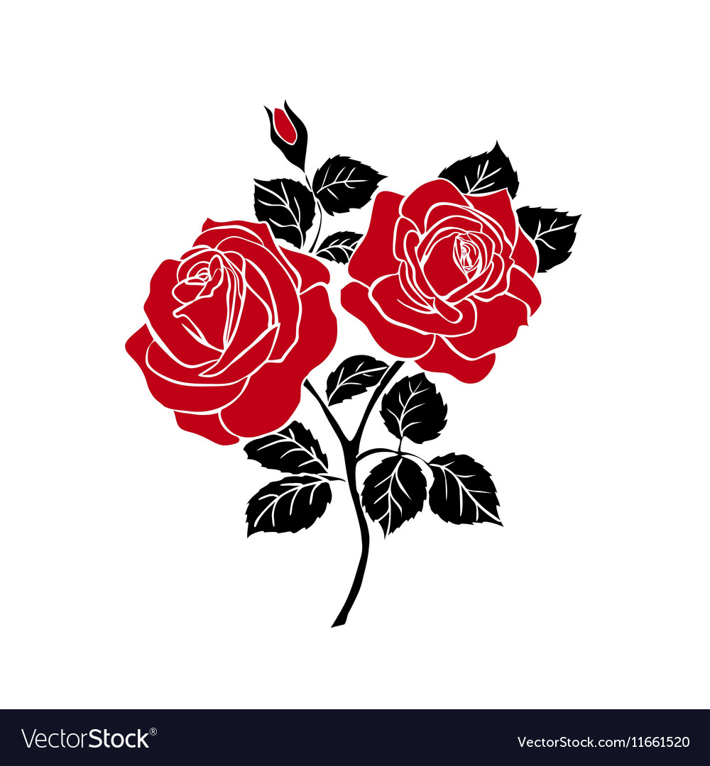 Silhouette of rose Royalty Free Vector Image - VectorStock  Silhouette of r...