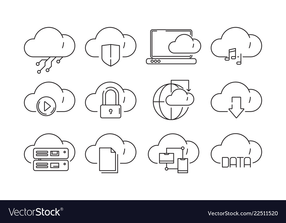 Web cloud services icons internet sync computer