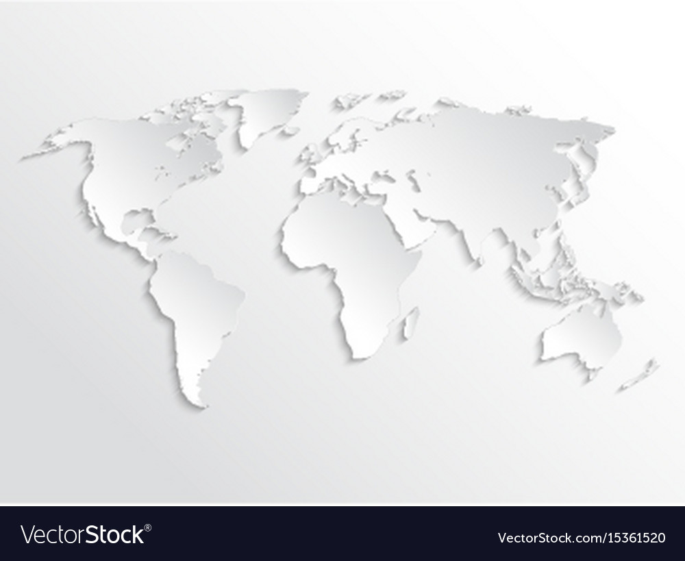 white paper earth 3d map template for royalty free vector