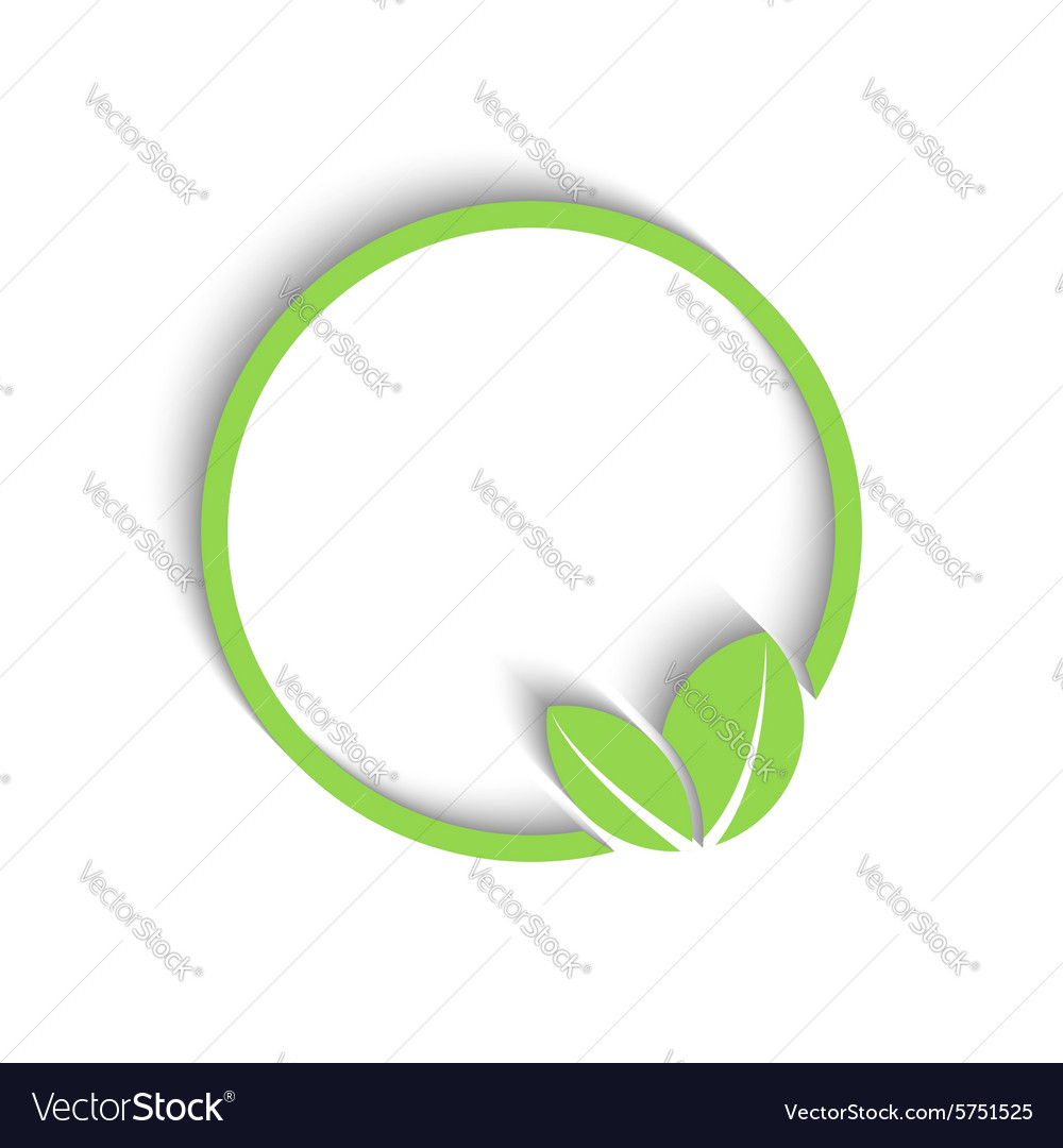 3D round green frame fresh leafs of plant mockup