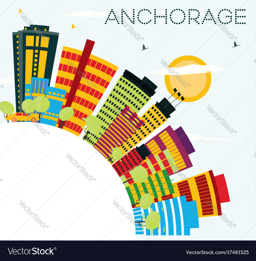 Anchorage skyline with color buildings blue sky