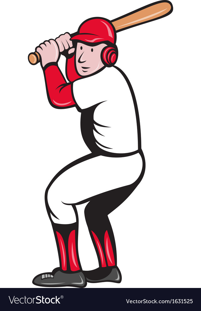 baseball player batting cartoon style royalty free vector rh vectorstock com cartoon baseball players cartoon baseball player pictures