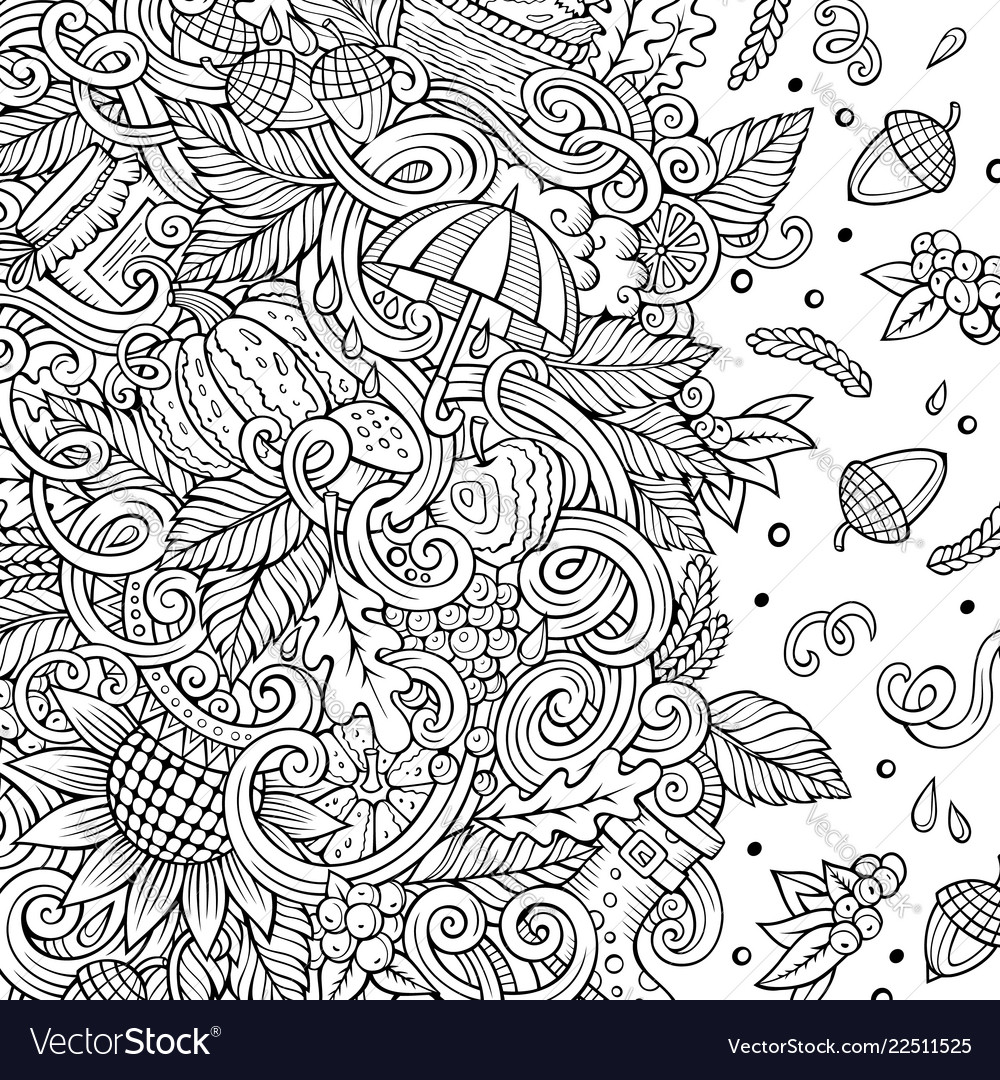 Cartoon doodles autumn frame line art