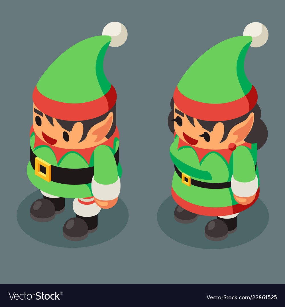 Christmas elf santa claus helper isometric male